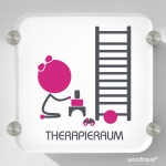 Therapieraum mit Kind, Schild